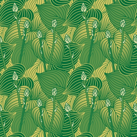 Seamless pattern of budding Hosta plants