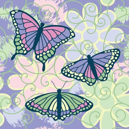 A vector illustration of three butterflies on a grunged seamless flower and spiral pattern. Reklamní fotografie - 9755911