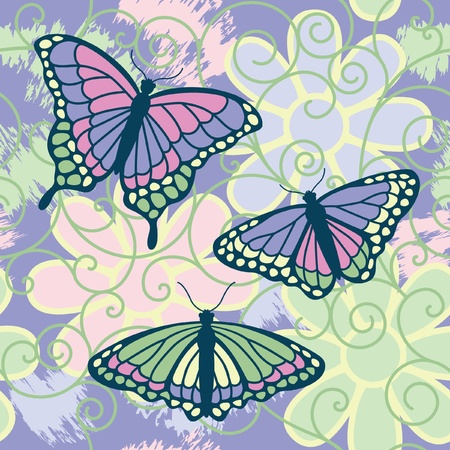 A vector illustration of three butterflies on a grunged seamless flower and spiral pattern.  Vector