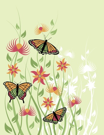 Vector illustration of butterflies and flowers. Vector