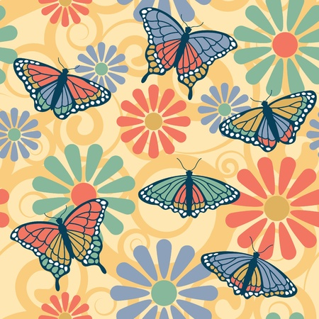 Vector illustration of butterflies on a seamless flower and spiral pattern.