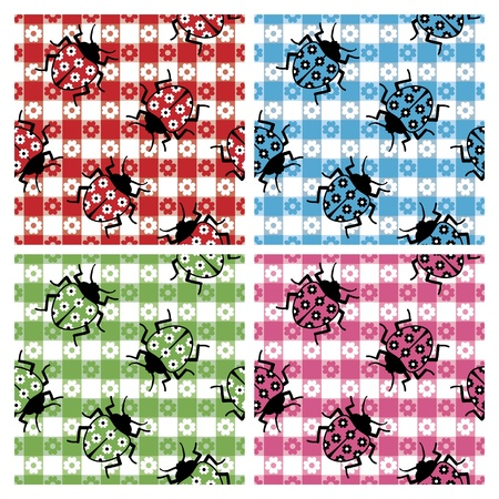 Ladybugs camouflaged on a seamless tablecloth pattern in four colorways. Vector