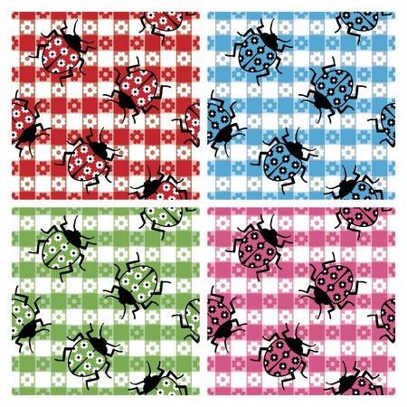 disfrazados: Mariquitas camuflados en un patr�n de mantel transparente en cuatro colores. Vectores