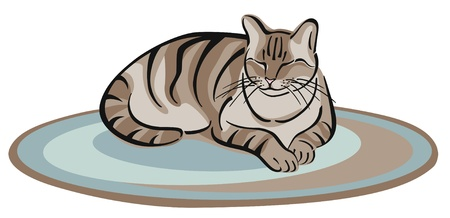 A vector illustration of a tabby cat napping on a rug.