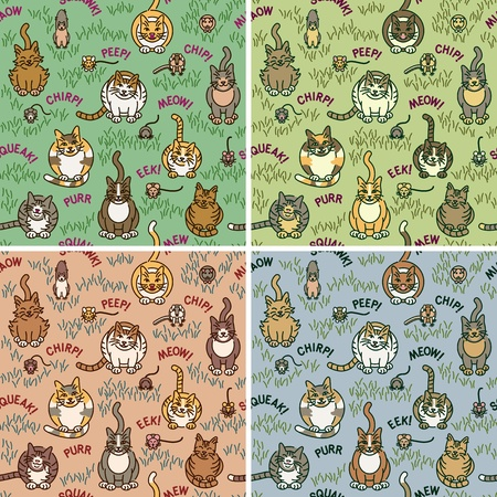 Cute cats and critters seamless pattern in four colorways. Vector
