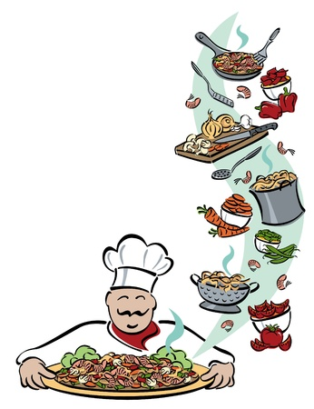 Illustration of a chef presenting a platter of shrimp with pasta and vegetables, along with the food and tools used for preparation.  Illustration