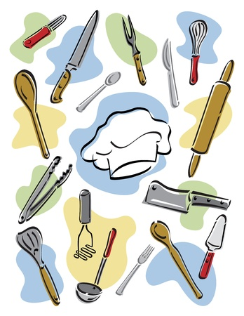 tongs: Vector illustration of kitchen utensils surrounding a chefs hat.