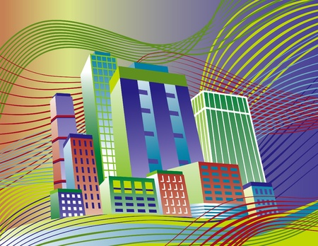 Illustration of a colorful city on a wavy background.