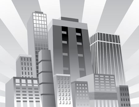Vector illustration of an upbeat, confident city. Vector