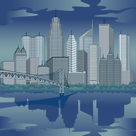 Nighttime panoramic illustration of a generic global city refected in water. Buildings are grouped for easy editing. Vector