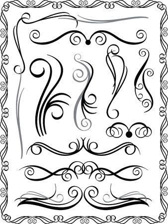 baroque: Collection #1 of decorative borders and dividers. Illustration
