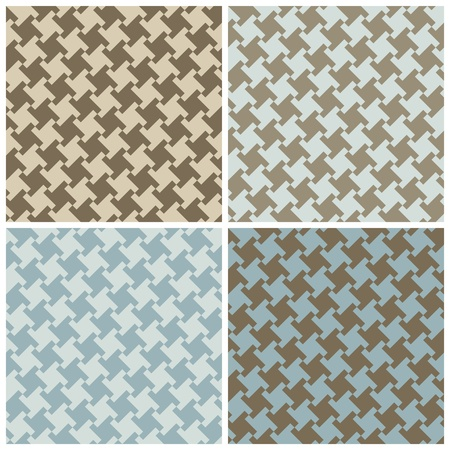 An untraditional seamless houndstooth pattern in four colorways. Vector