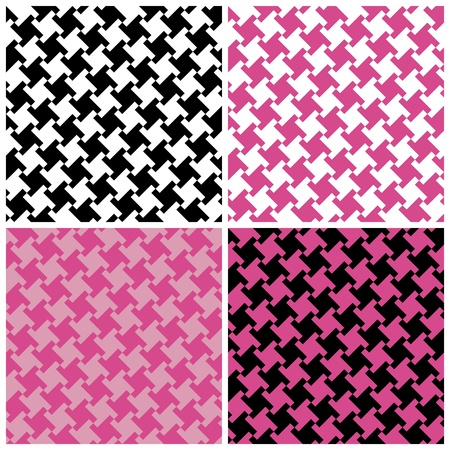 Seamless spiral houndstooth pattern in four colorways.