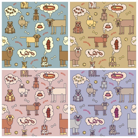 Seamless pattern of dogs thinking about food and other things. Typestyle is my own design.
