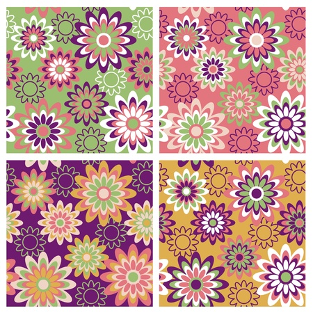 Seamless retro-style floral pattern in four springtime colorways. Vector
