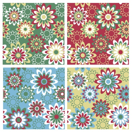 Seamless retro-style floral pattern in four winter-holiday colorways. Illustration