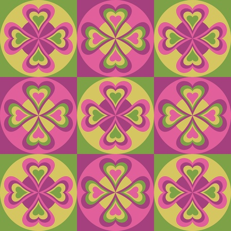 dutch: Vector pattern of hearts and circles.