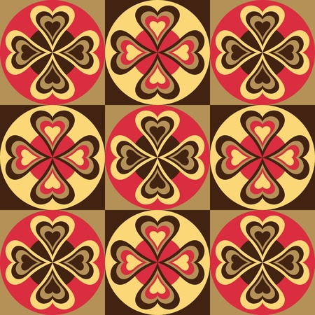 dutch: Vector pattern of hearts and circles in red,yellow and black.