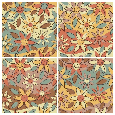 A seamless free-form floral pattern in four Autumn colorways. Vector