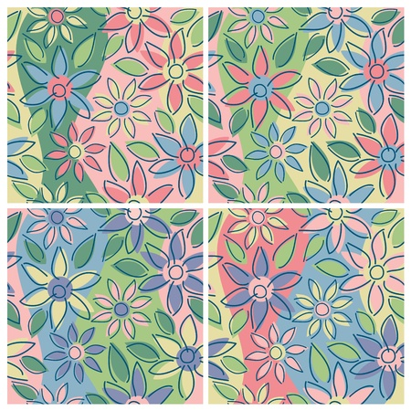 A seamless free-form floral pattern in four springtime colorways. Vector