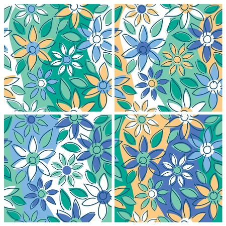 A seamless free-form floral pattern in four summertime colorways. Illustration