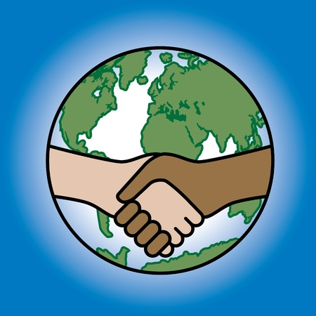 Conceptual illustration of a global handshake.