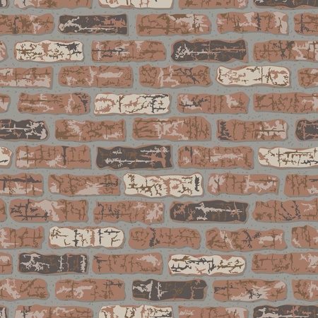 fortification: Vector seamless classic brick wall pattern.