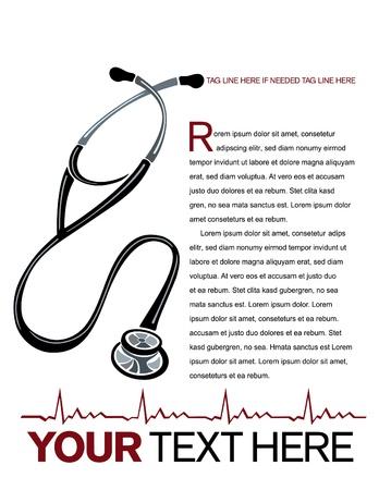 Gezondheidszorg pagina-indeling van de vector met stethoscoop en hart grafiek illustraties.