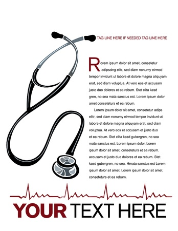 Vector healthcare page layout with stethoscope and heart graph illustrations. Ilustração