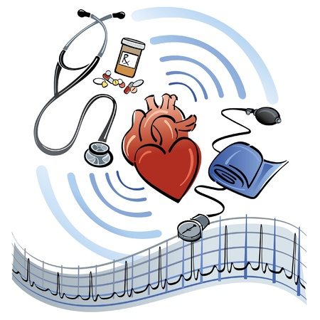 auscultation: Human heart surrounded by a stethoscope, medicine, blood pressure meter and EKG graph. Illustration