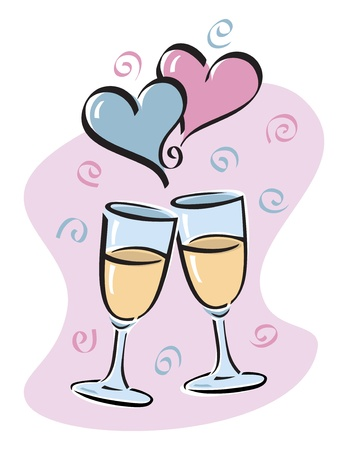 Vector illustration of toasting glasses with intertwined hearts.