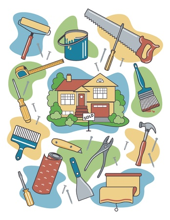 Vector illustration of household tools and items surrounding a newly-sold renovated home. Ilustração