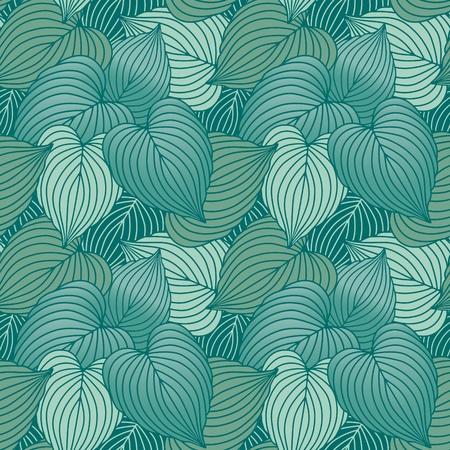 ブルー グリーン Hosta 植物のシームレスなパターン ベクトル。