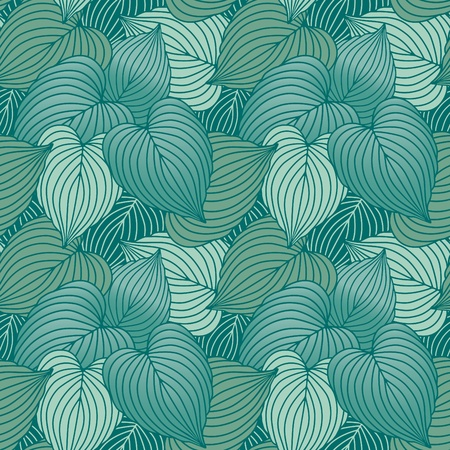 Vector seamless pattern of blue-green Hosta plants.