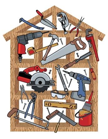 Bouwgereedschap in een houten frame huis.