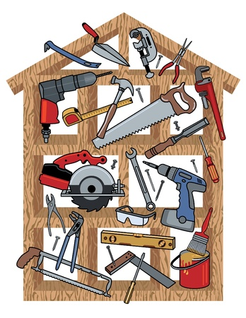 drill: Construction tools in wood frame house.