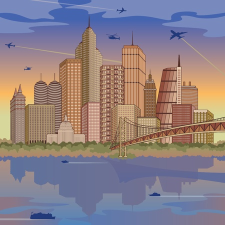 Panoramic illustration of a generic global city refected in water.  Stock Vector - 9755925