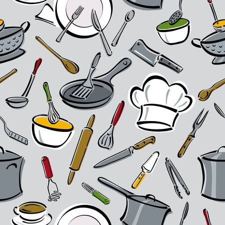 Vector naadloze patroon voor keuken tools. Stock Illustratie