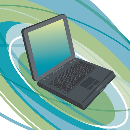 Generic laptop computer on an abstract oval background. Stock Vector - 9755933