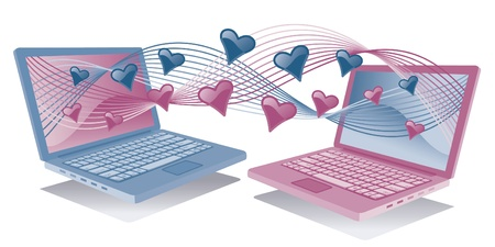 Two laptops communicating love.  Vector