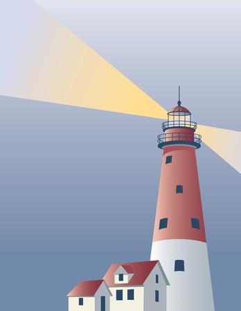 Vectorillustratie van een vuurtoren met ruimte voor tekst. Stock Illustratie