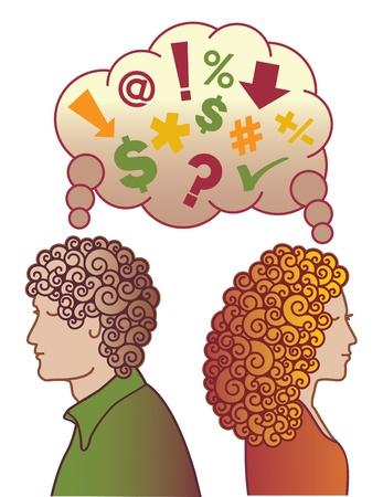 Un par de disgusto y no hablando, pensando en malos pensamientos. Ilustración de vector