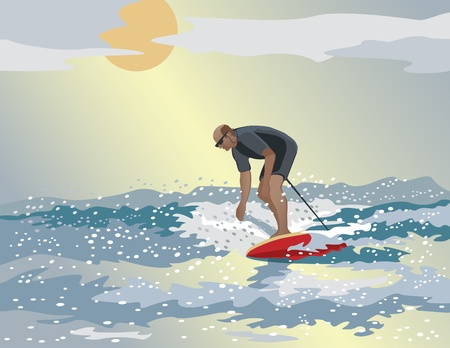 Vector illustration of a middle aged man surfing.