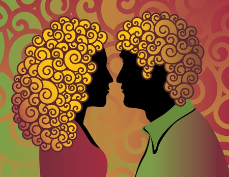 60's: Retro-style illustration of a hip young couple with curly hair.