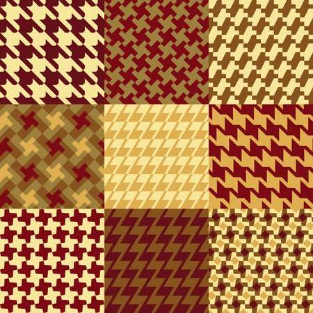 Vector collection of 9 different houndstooth patterns. Vector