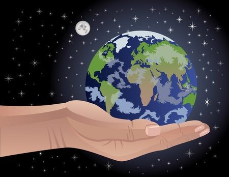 Conceptual vector illustration of a hand cradling the Earth. Globe map intentionally distorted to include all continents on the planet.  Vector