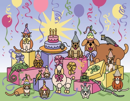 Vector llustration of pets celebrating at a birthday party. Vettoriali