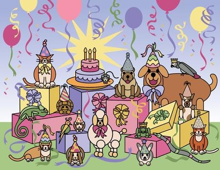 Llustration Vecteur d'animaux de compagnie à célébrer une fête d'anniversaire. Vecteurs