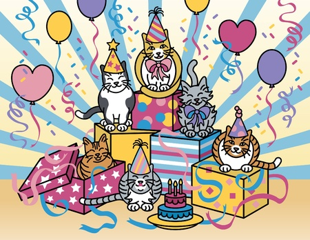streamers: Vector illustration of cats celebrating at a party. Illustration