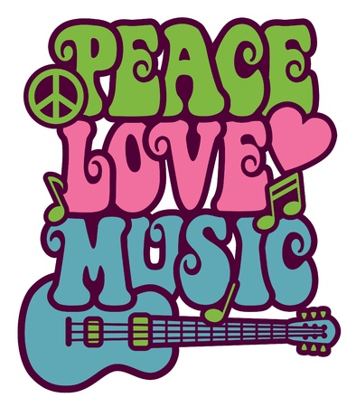 Retro-style design of a guitar, peace symbol and dove with the words Peace, Love and Music. Type style is my own design.